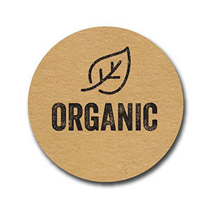 "Other - 500 organic Stickers 1"" kraft labels with a leaf"